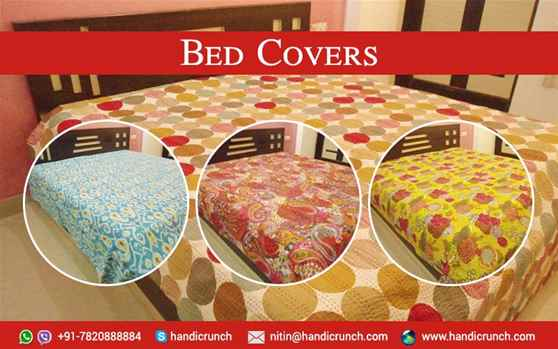 Handmade Kantha work bedcovers online by Handicrunch